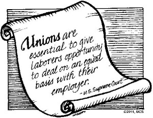 cartoon graphic of scroll containing pro-union sentiment